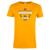 Ladies Gold T Shirt-2018 MAAC Baseball Champions