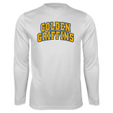 Performance White Longsleeve Shirt-Arched Golden Griffins