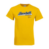 Gold T Shirt-Baseball Script w/ Bat Design