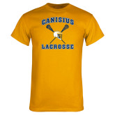 Gold T Shirt-Lacrosse Crossed Sticks Design