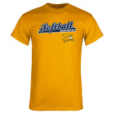 Gold T Shirt-Script Softball w/ Bat Design