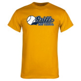 Gold T Shirt-Script Softball w/ Ba Design