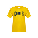 Youth Gold T Shirt-Griffs Wordmark
