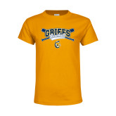 Youth Gold T Shirt-Baseball Crossed Bats Design