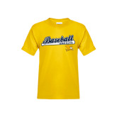 Youth Gold T Shirt-Baseball Script w/ Bat Design