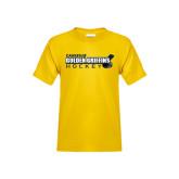 Youth Gold T Shirt-Hockey Stick Design