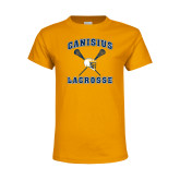 Youth Gold T Shirt-Lacrosse Crossed Sticks Design