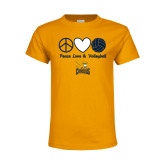 Youth Gold T Shirt-Peace, Love and Volleyball Design