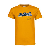 Youth Gold T Shirt-Script Softball w/ Bat Design