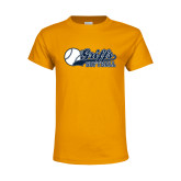 Youth Gold T Shirt-Script Softball w/ Ba Design