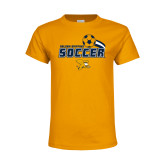 Youth Gold T Shirt-Soccer Swoosh Design