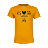 Youth Gold T Shirt-Just Kick It Soccer Design