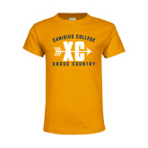 Youth Gold T Shirt-Cross Country Design