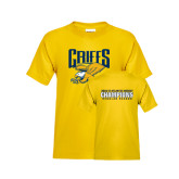 Youth Gold T Shirt-Griffs w/ Griff Stacked