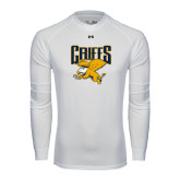 Under Armour White Long Sleeve Tech Tee-Griffs w/ Griff Stacked
