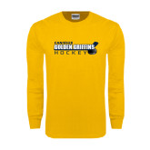Gold Long Sleeve T Shirt-Hockey Stick Design