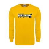Gold Long Sleeve T Shirt-Hockey Stick Design
