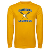 Gold Long Sleeve T Shirt-Lacrosse Crossed Sticks Design
