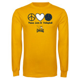 Gold Long Sleeve T Shirt-Peace, Love and Volleyball Design