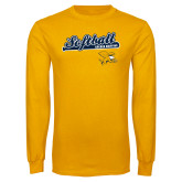 Gold Long Sleeve T Shirt-Script Softball w/ Bat Design