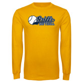 Gold Long Sleeve T Shirt-Script Softball w/ Ba Design