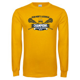 Gold Long Sleeve T Shirt-2018 Mens Lacrosse Champions