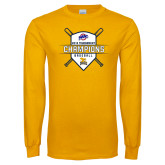 Gold Long Sleeve T Shirt-2018 MAAC Baseball Champions