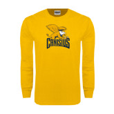 Gold Long Sleeve T Shirt-Canisius w/ Griff Stacked