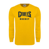 Gold Long Sleeve T Shirt-Hockey