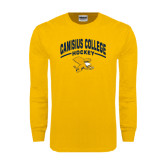 Gold Long Sleeve T Shirt-Arched Canisius College Hockey
