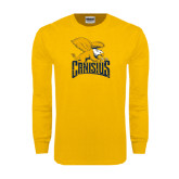 Gold Long Sleeve T Shirt-Canisius w/ Griff Stacked - Distressed
