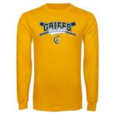 Gold Long Sleeve T Shirt-Baseball Crossed Bats Design