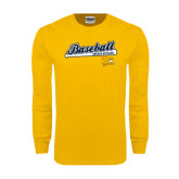 Gold Long Sleeve T Shirt-Baseball Script w/ Bat Design