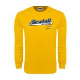Gold Long Sleeve T Shirt-Baseball Script w/ Bat Design