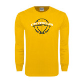 Gold Long Sleeve T Shirt-Basketball Ball Design