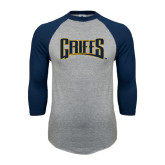 Grey/Navy Raglan Baseball T Shirt-Griffs Wordmark