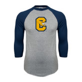 Grey/Navy Raglan Baseball T Shirt-Capital C Griffs