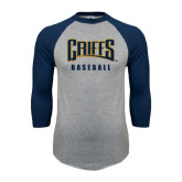 Grey/Navy Raglan Baseball T Shirt-Baseball