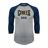 Grey/Navy Raglan Baseball T Shirt-Dad