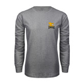 Grey Long Sleeve T Shirt-Canisius w/ Griff Stacked