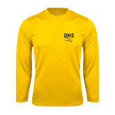 Performance Gold Longsleeve Shirt-Griffs w/ Griff Stacked