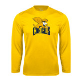 Performance Gold Longsleeve Shirt-Canisius w/ Griff Stacked