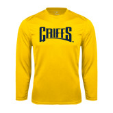 Syntrel Performance Gold Longsleeve Shirt-Griffs Wordmark