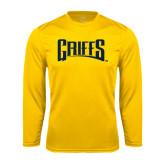 Performance Gold Longsleeve Shirt-Griffs Wordmark