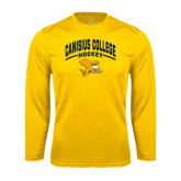 Performance Gold Longsleeve Shirt-Arched Canisius College Hockey