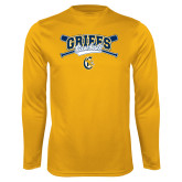 Syntrel Performance Gold Longsleeve Shirt-Baseball Crossed Bats Design