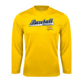 Syntrel Performance Gold Longsleeve Shirt-Baseball Script w/ Bat Design