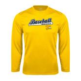 Performance Gold Longsleeve Shirt-Baseball Script w/ Bat Design