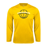 Syntrel Performance Gold Longsleeve Shirt-Basketball Ball Design