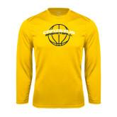 Performance Gold Longsleeve Shirt-Basketball Ball Design